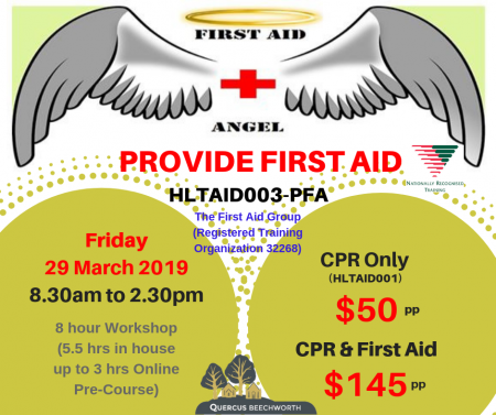 PROVIDE FIRST AID – CPR ONLY (29/3/19) – 2 hrs ONLY