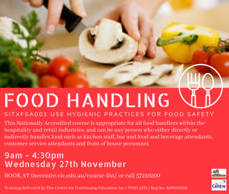 FOOD HANDLING – SITXFSA001 USE HYGIENIC PRACTICES FOR FOOD SAFETY