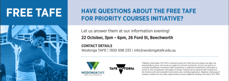 FREE WODONGA TAFE INFORMATION SESSION (22/10/19)