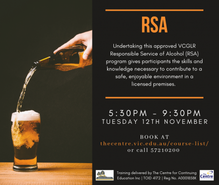 RSA – VCGLR Provide Responsible Service of Alcohol
