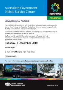 ***CANCELLED***  Centrelink Mobile Van @ Outside Memorial Hall