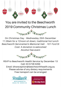 Beechworth Community Chirstmas Lunch @ Beechworth Servicemen's Memorial Hall